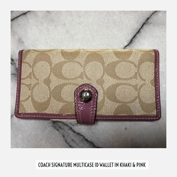 Coach Handbags - Coach Slim Signature Credit Card Checkbook Wallet